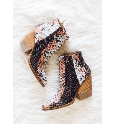 GONE WILD SNAKESKIN BOOTIES