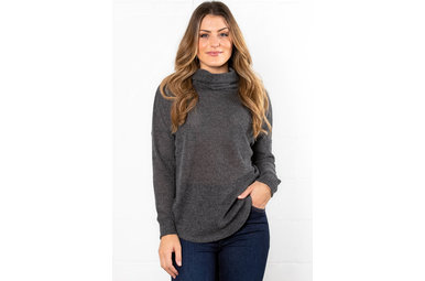 BETTY COWL NECK SWEATER - CHARCOAL
