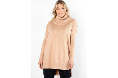 CITY TOURS TUNIC SWEATER - CAMEL