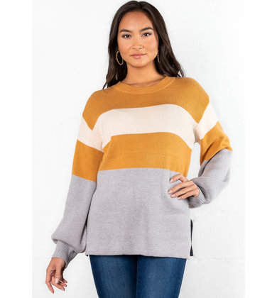 GIVE THANKS COLOR BLOCK SWEATER