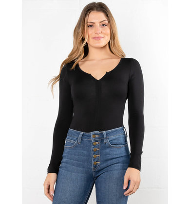 KEEGAN LONG SLEEVE BODYSUIT - BLACK