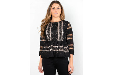 TOP FLOOR LACE PEPLUM BLOUSE