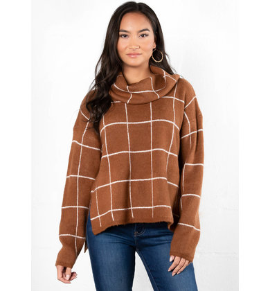 WRAPPED IN WARMTH GRID SWEATER