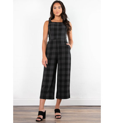 CABERNET PLAID JUMPSUIT