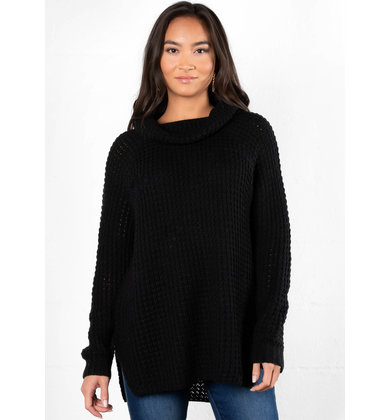 HOLLY COWL NECK SWEATER - BLACK