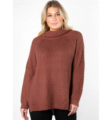 HOLLY COWL NECK SWEATER - MAUVE