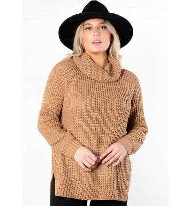 HOLLY COWL NECK SWEATER - CAMEL