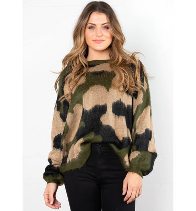 SOLITAIRE CAMO PRINT SWEATER