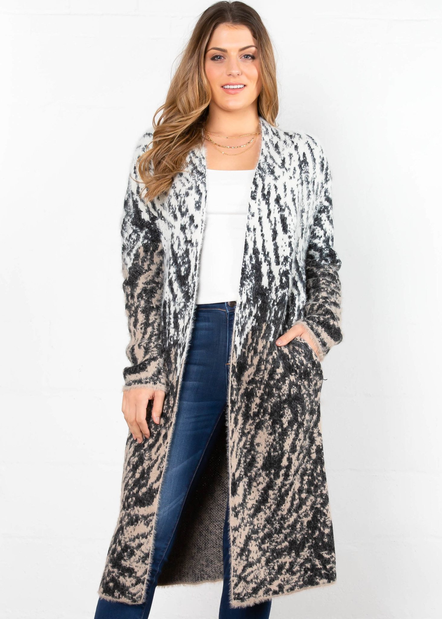 MOMENT OF LOVE PRINTED CARDIGAN