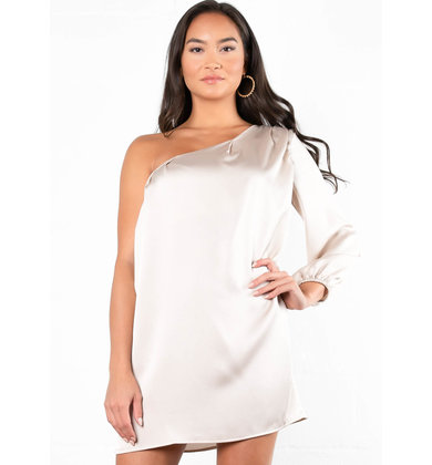 SILVER + GOLD ONE SLEEVE DRESS