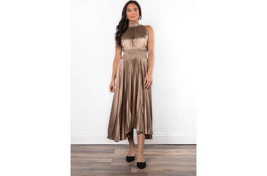 ELSA PLEATED DRESS - CHAMPAGNE