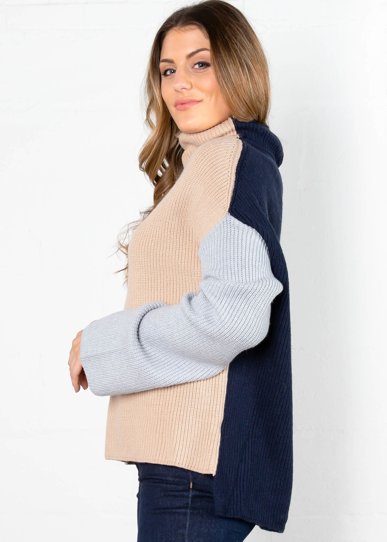 BLANK SLATE COLOR BLOCK SWEATER