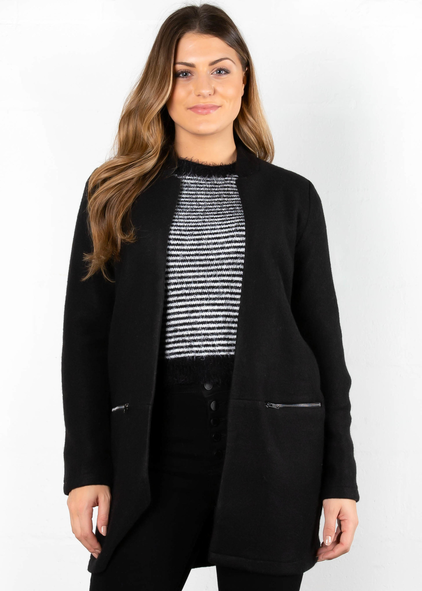 WALDORF OPEN CARDIGAN - BLACK