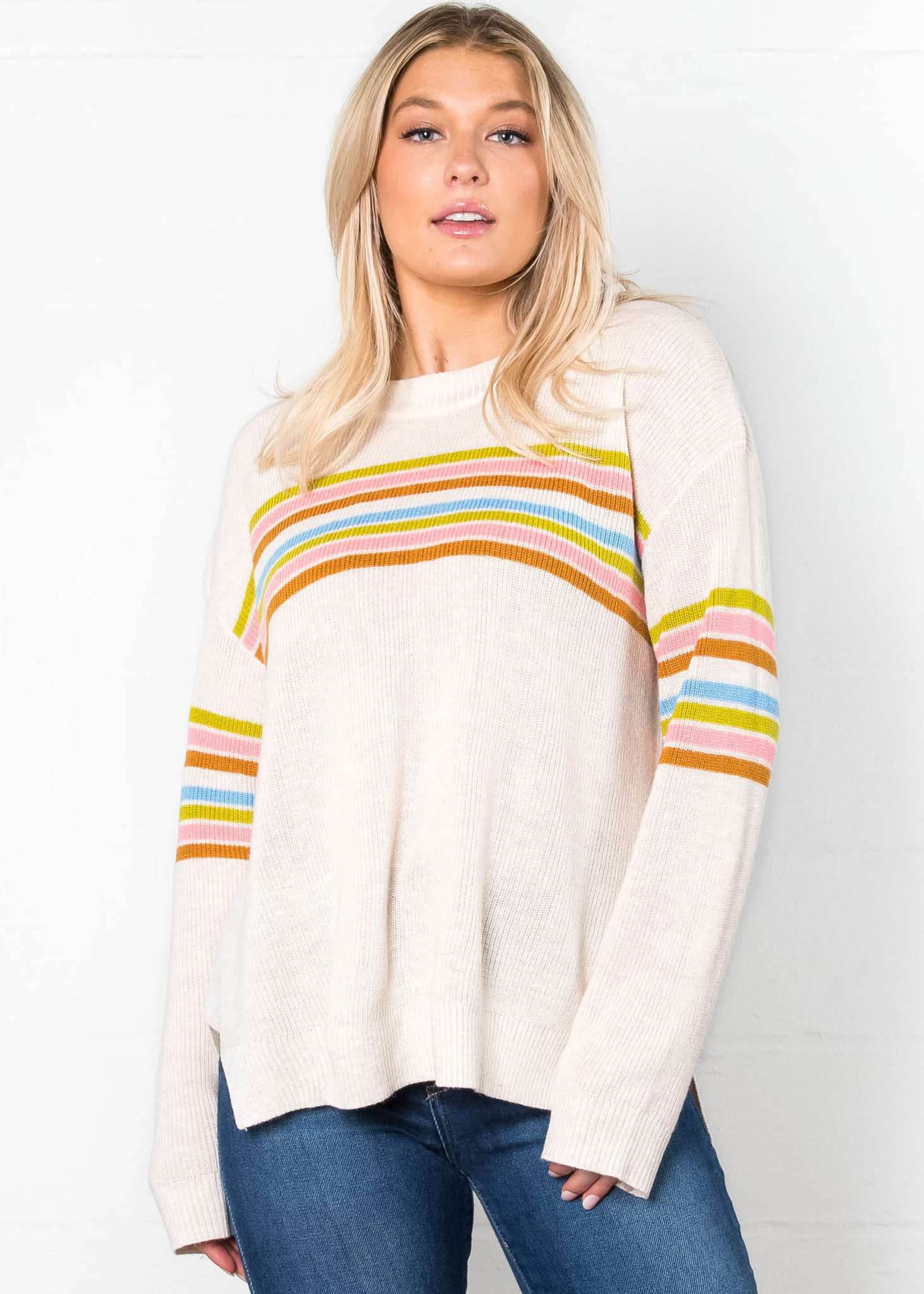 ONCE + FOR ALL STRIPED SWEATER