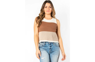 DECKER COLOR BLOCK KNIT TANK TOP