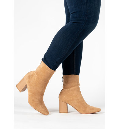 LEXIE TAN HEELED BOOTIES