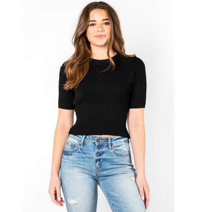 MERCI SHORT SLEEVE SWEATER - BLACK