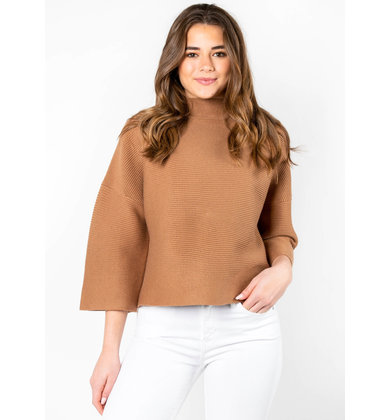ANDIE MOCK NECK SWEATER - CAMEL