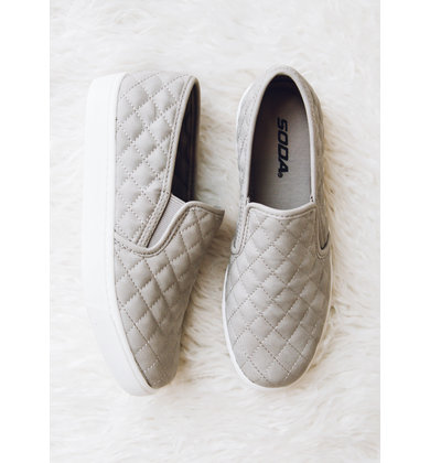 ALEXA QUILTED SNEAKERS - GREY