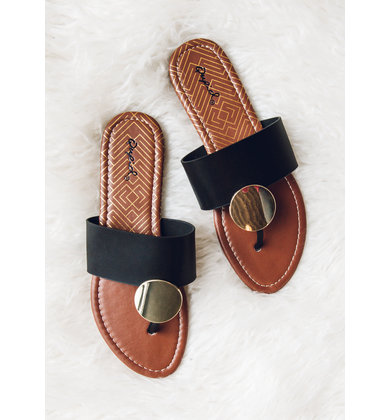 GREEK ISLES BLACK SANDALS