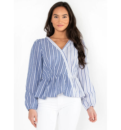SWEET CAROLINE STRIPED PEPLUM TOP