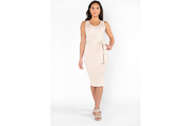 CITY CHIC MIDI DRESS - CREAM