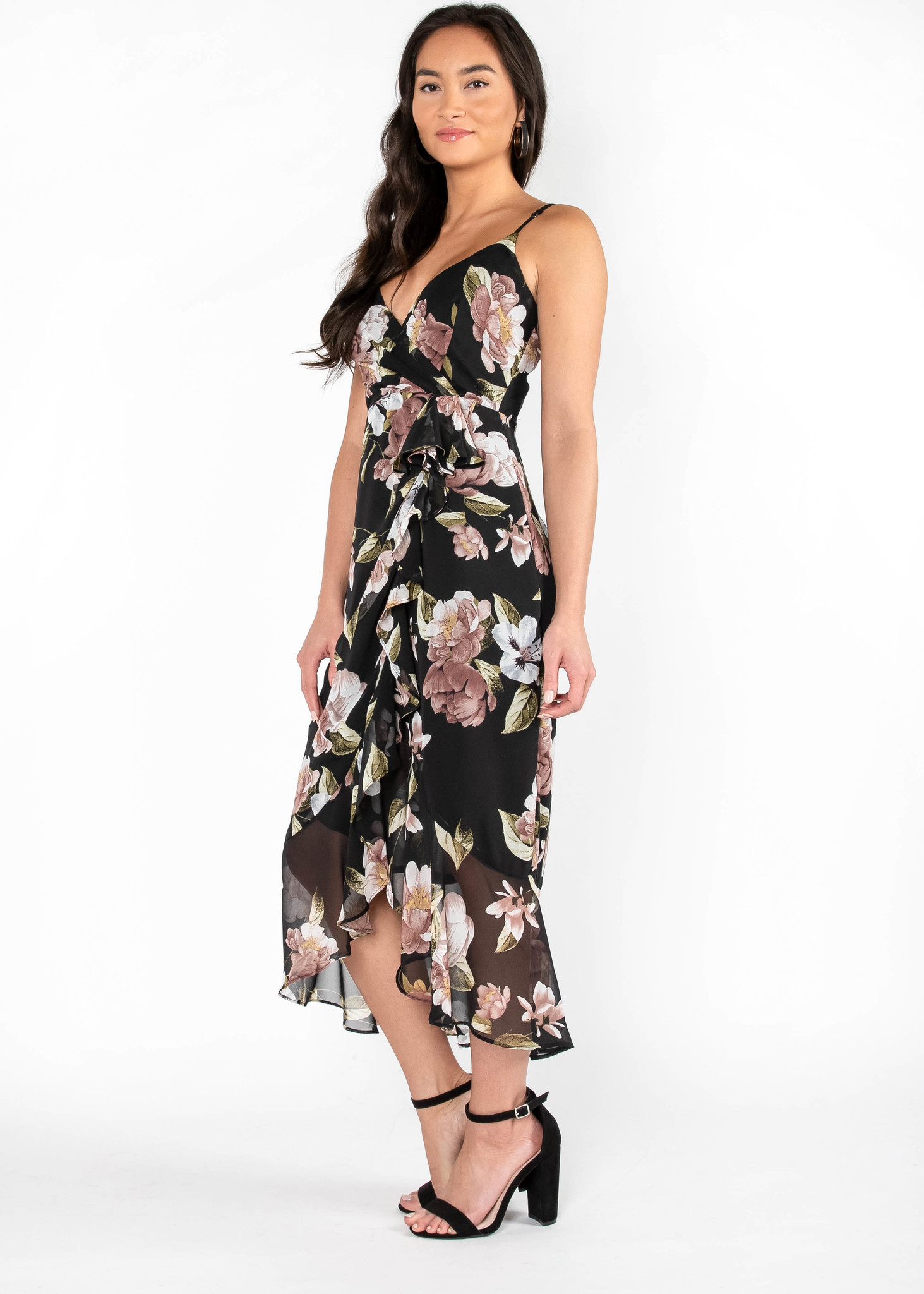 PAINTED PETALS MIDI DRESS