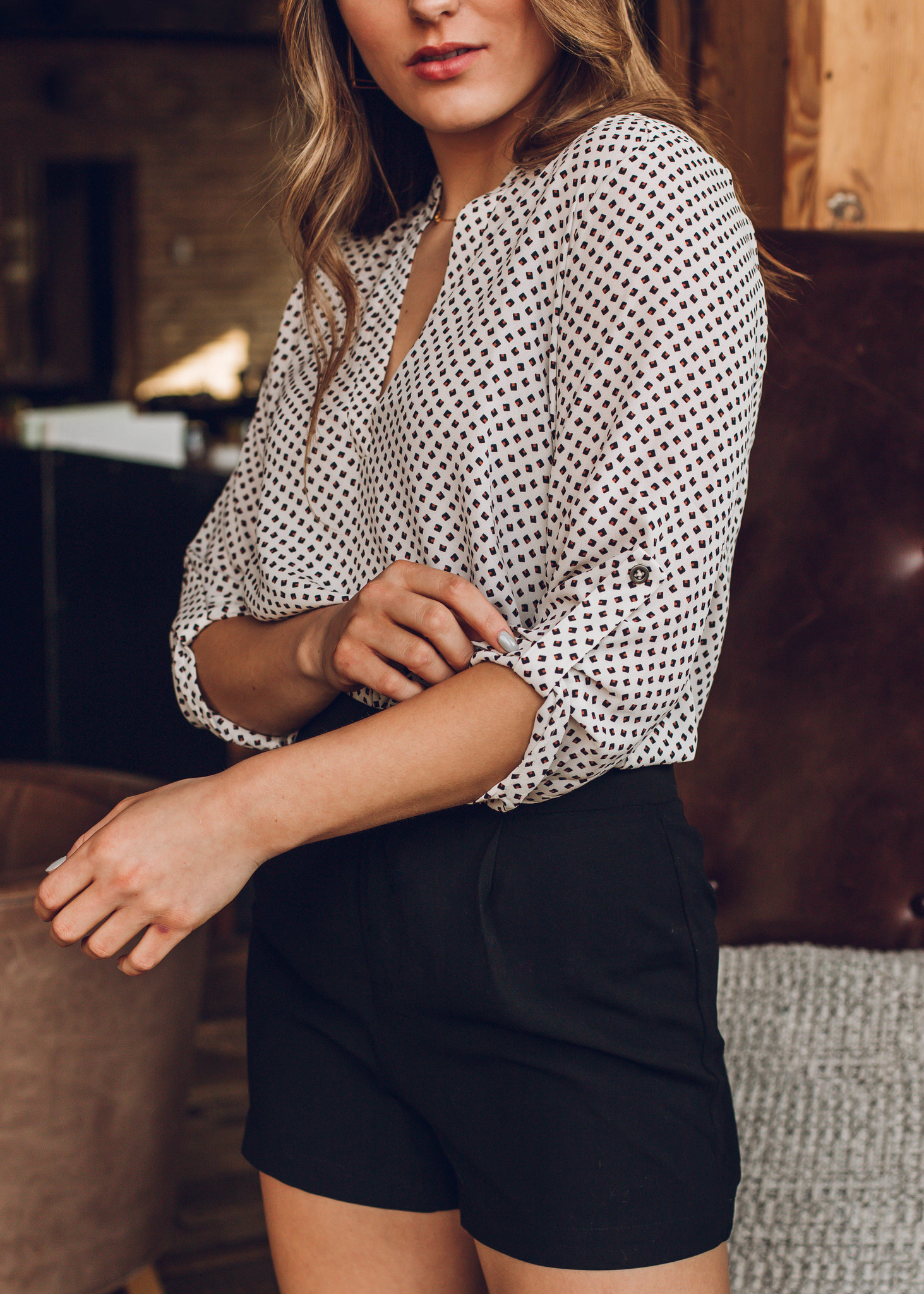 DOWN TO BUSINESS PRINTED BLOUSE