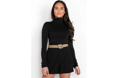 THINK TWICE TURTLENECK TOP - BLACK