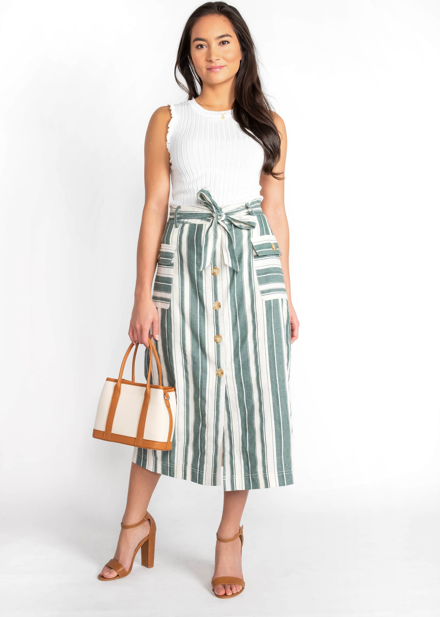 GARDEN PARTY STRIPED MIDI SKIRT