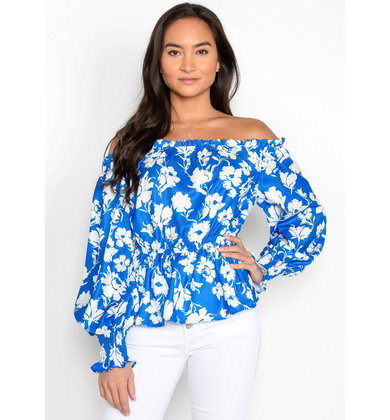 BLUE SKIES OFF THE SHOULDER TOP