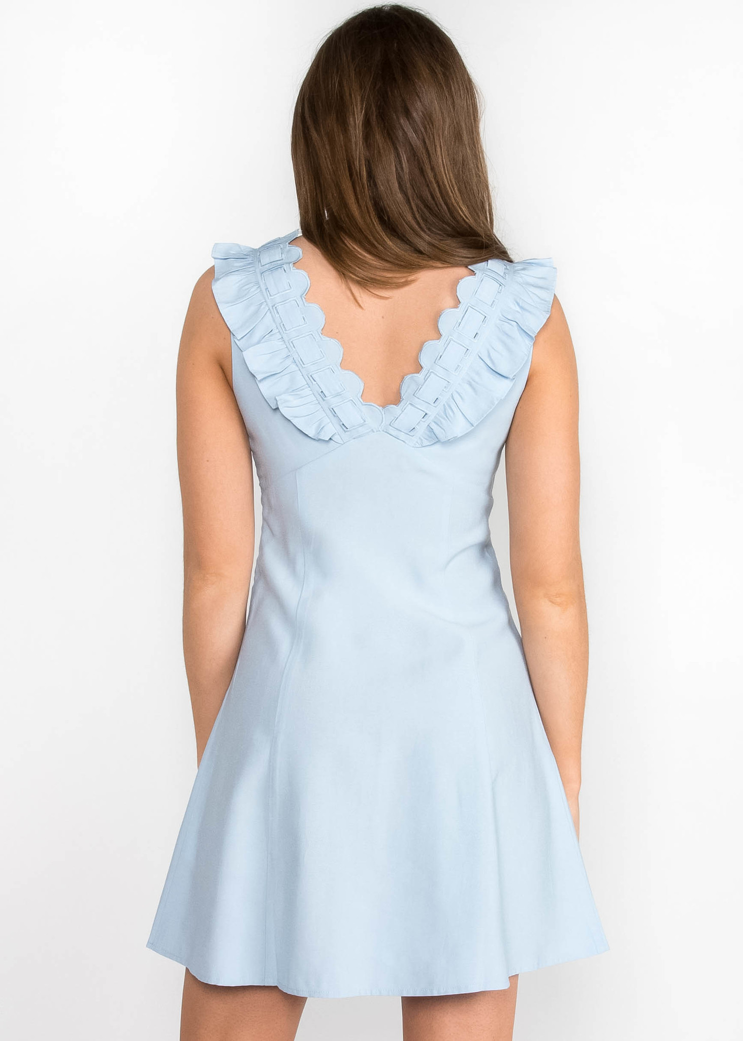 BLUE BONNET SCALLOPED DRESS