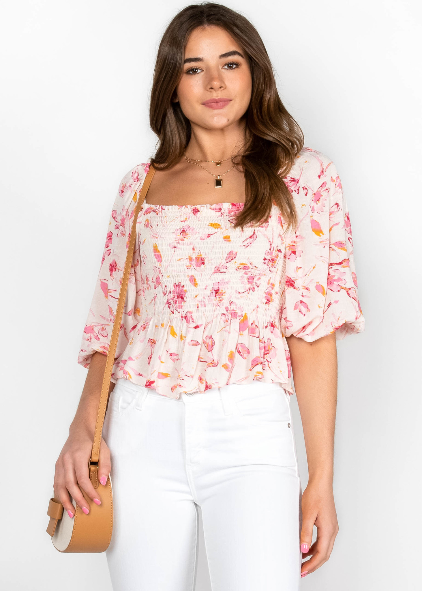 PRETTY PETALS SMOCKED PEPLUM TOP
