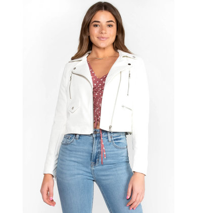 AUDREY LEATHER JACKET - WHITE