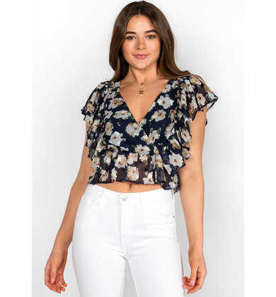 TELL ME MORE FLORAL CROP TOP