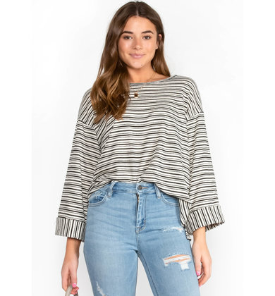 WORK FROM HOME STRIPED TOP