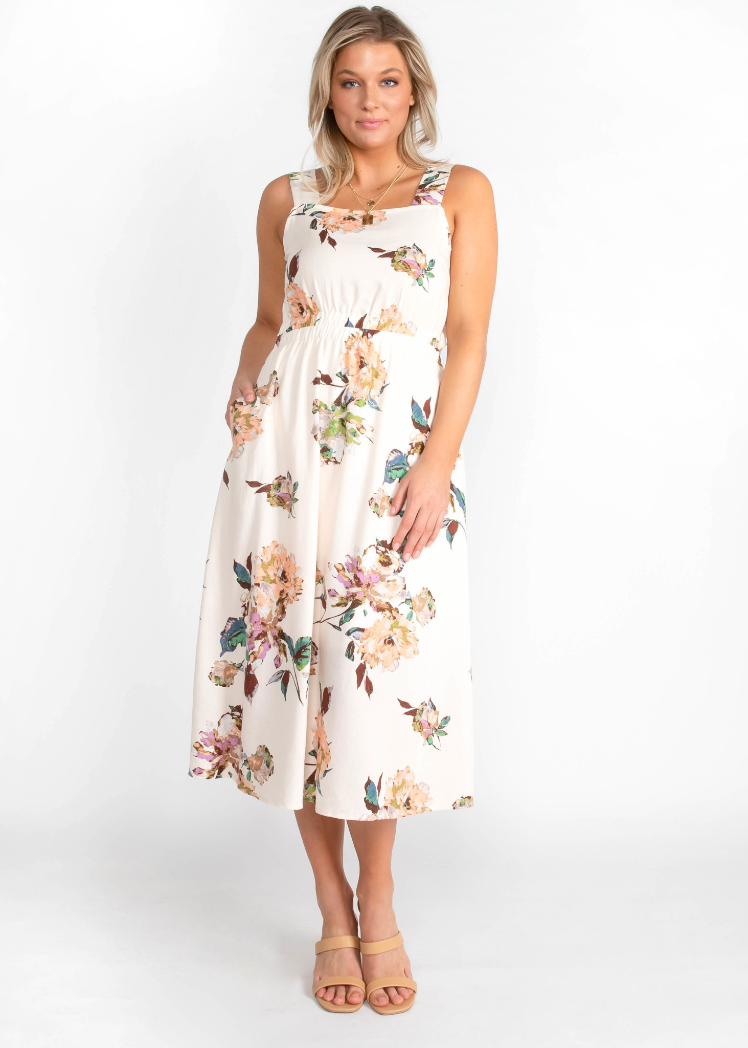 MAY FLOWERS FLORAL MIDI DRESS