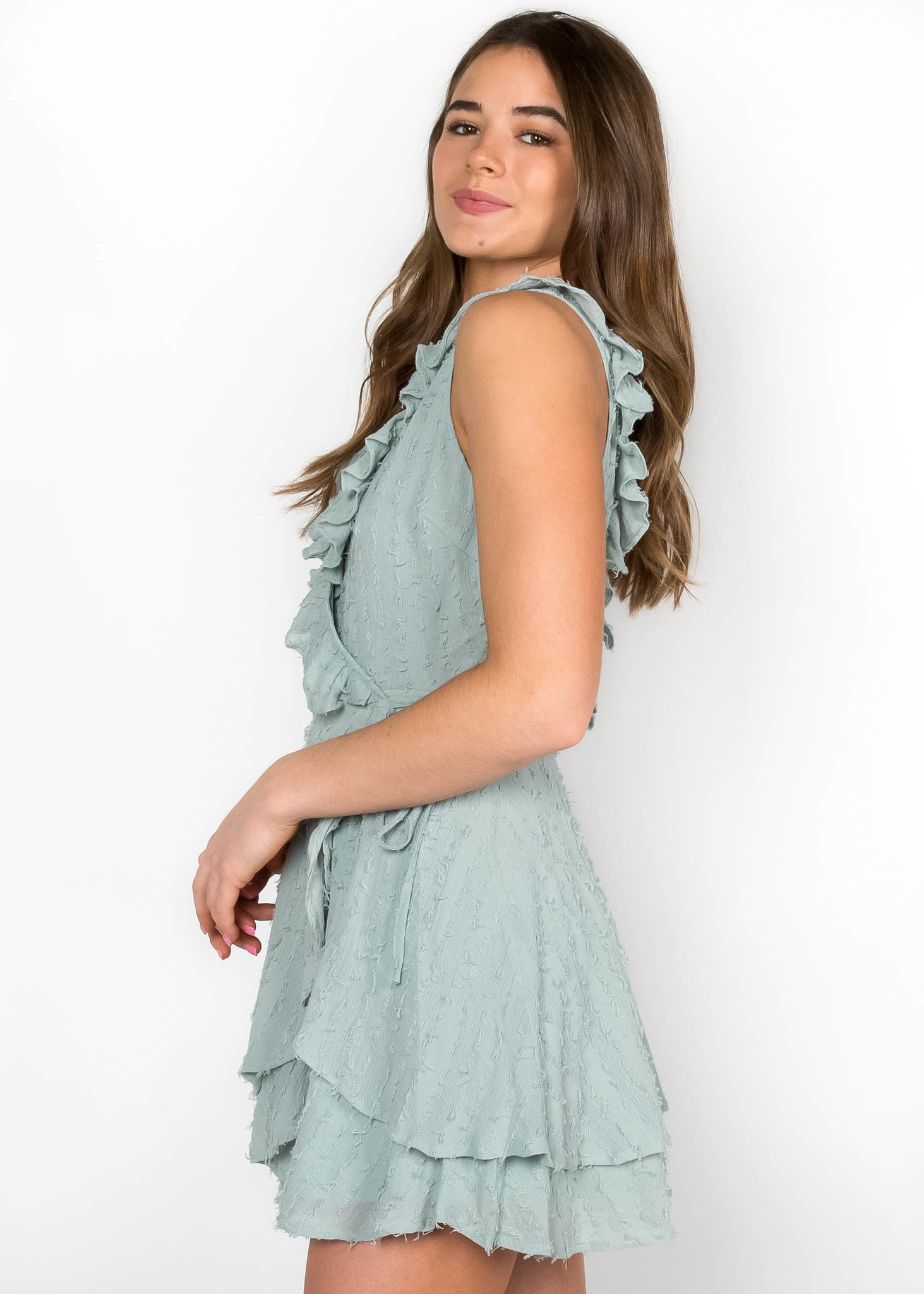 PROM QUEEN SAGE WRAP DRESS