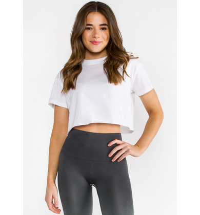 READY SET GO WHITE CROP TOP