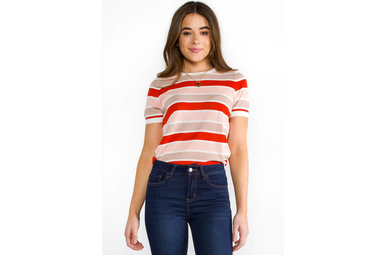 CHANGE IN TIME STRIPED KNIT TOP