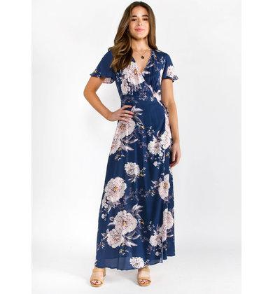 ROSE WATER FLORAL WRAP DRESS