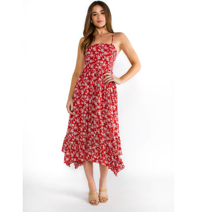 FLORAL ART RED MIDI DRESS