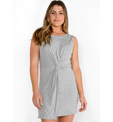 GLOW UP KNOTTED DRESS - GREY