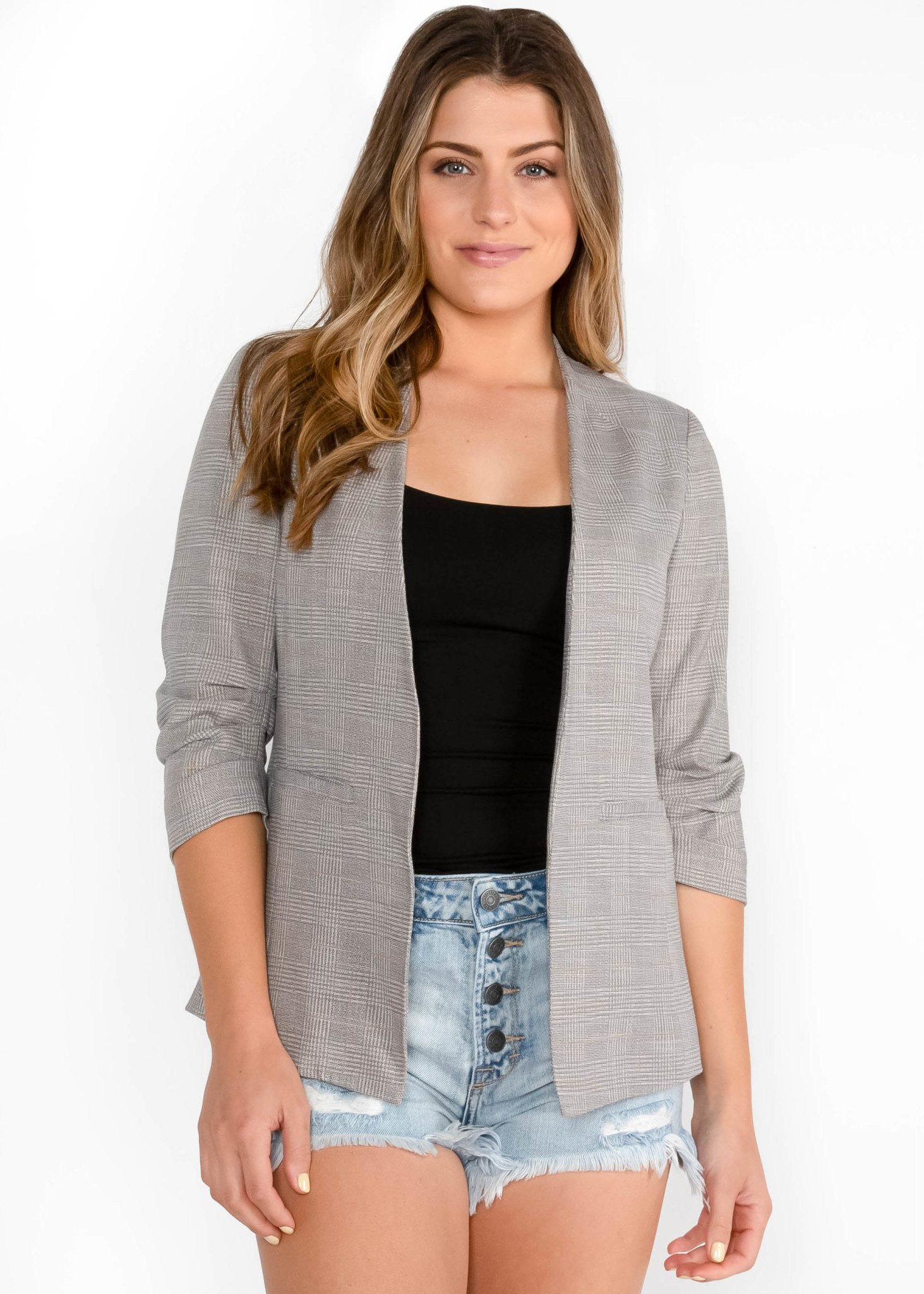 AROUND THE CLOCK PLAID BLAZER