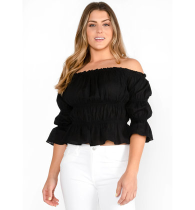 BON VOYAGE OFF THE SHOULDER TOP