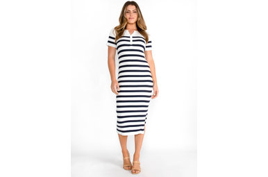 CASTAWAY STRIPED MIDI DRESS