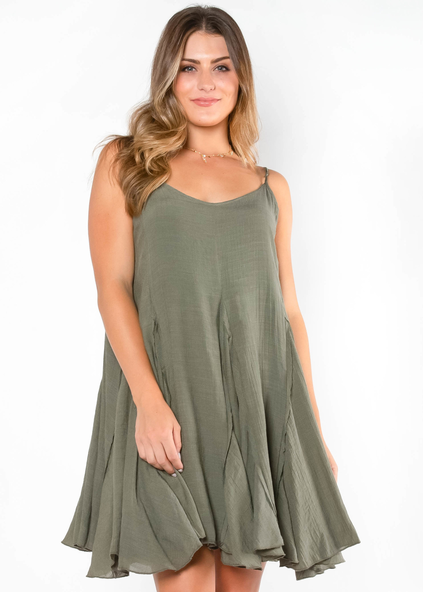BACKYARD BLISS OLIVE DRESS