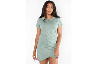 HERE AGAIN RUCHED DRESS -SAGE