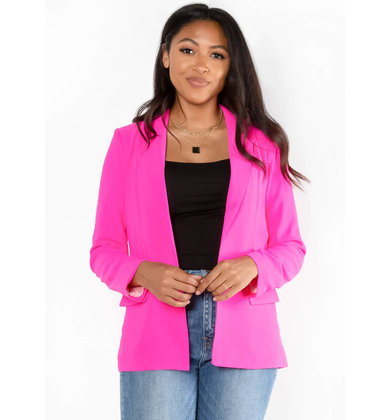 TWISTS + TURNS NEON BLAZER - PINK