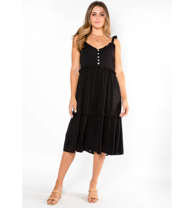 DAWN TO DUSK BLACK MIDI DRESS